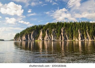 "Yugyd VA national Park, UNESCO site ""Virgin Komi forests "". Picturesque rocks on the banks of the river Shchugor."