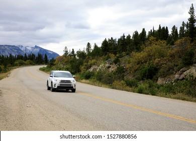 Yukon, Canada / USA - August 10, 2019: Yukon road view, Yukon, Canada, USA