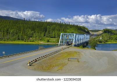 Yukon Crossing, Steel bridge across Yukon river near Marsh Lake on the Alaska Highway, Yukon Territory, Canada