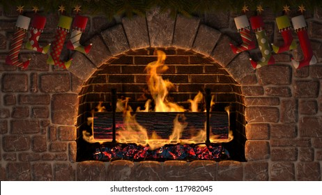 Yule Log in fireplace decorated with christmas stockings.