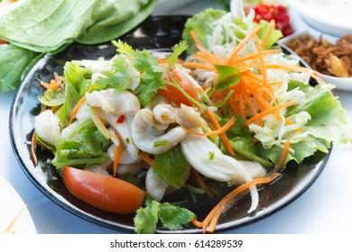 yum sai tan or pork chitterlings salad food thai style in restaurant