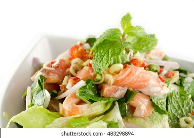 """""""yum salmon"""" is fusion food use salmon as main ingredient and mix with thai herb"""