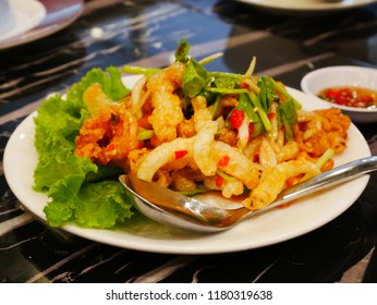 Yum sam grap is a Thai food. It's very delicious