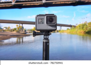 Yuma, Arizona, United States - December 26, 2017: GoPro Hero sports action camera mounted on a mano tripod and capturing video in downtown gateway park