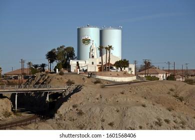 Yuma, Arizona/USA - December 29, 2019: St. Thomas Church on Indian Hill in Winterhaven, California