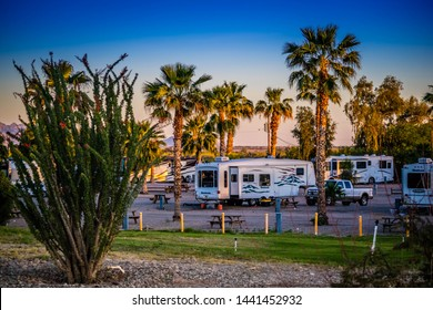 Yuma, AZ, USA - April 4, 2017: Enjoying the captivated view from our RV
