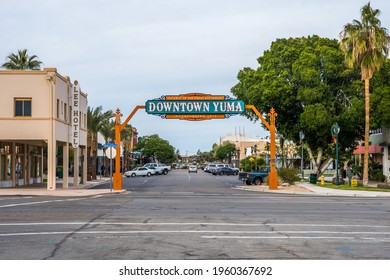 Yuma, AZ, USA - December 22, 2019: A welcoming signboard at the entry point of the city