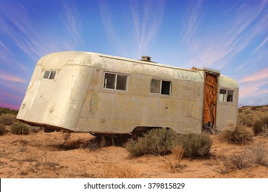 YUMA - FEB 19: Abandoned old trailer in Mexican desert south of Yuma, Arizona on February 19, 2016.