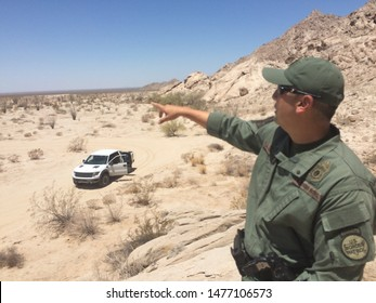 Yuma Sector, Ariz. / US - July 26, 2016: A Customs and Border Protection agent along the U.S.-Mexico border. 0397