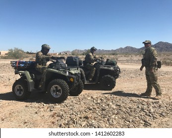 Yuma Sector, Ariz. / US - June 01, 2017: Customs and Border Protection agents from Yuma and El Centro Sectors on off road vehicles for a southern Arizona desert search and rescue demonstration. 5699