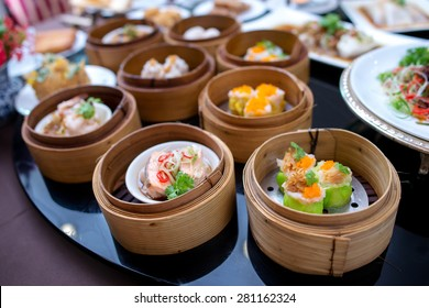 yumcha, various dim sum in bamboo steamer in chinese restaurant