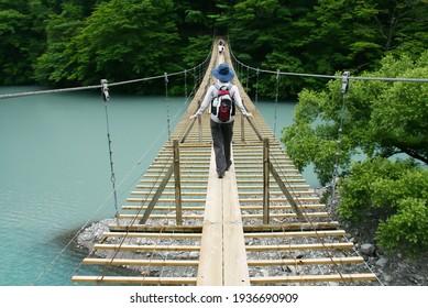 Yumenotsuribashi(suspened bridge of dream)in Sumata Gorge, Shizuoka Prefecture, Japan