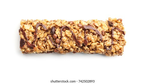 Yummy cereal bar on white background