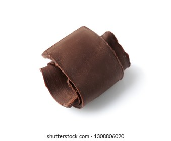 Yummy chocolate curl for decor on white background
