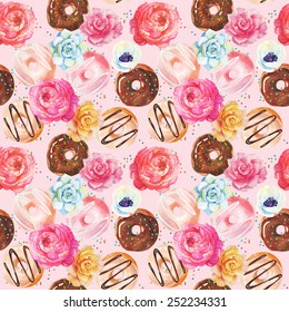 Yummy colorful chocolate donuts seamless pattern. Watercolor.