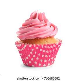 Yummy cupcake on white background
