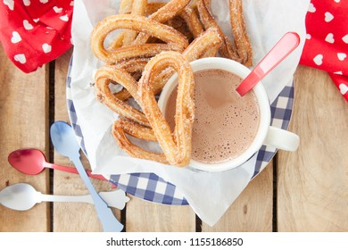 Yummy deep fried churros with cinnamon and sugar