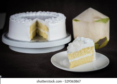 yummy fresh coconut topping milk sponge cake with low sugar