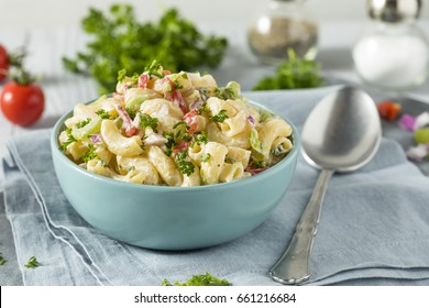 Yummy Homemade Macaroni Salad with Tomato Onion Celery and Parsley