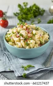 Yummy Homemade Macaroni Salad with Tomato Onion Celery and Parsley