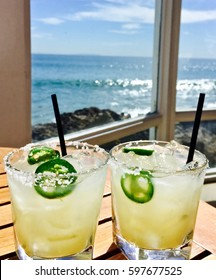 Yummy Spicy Margaritas with a beautiful ocean in the background.