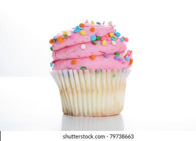 yummy vanilla cupcake on white background