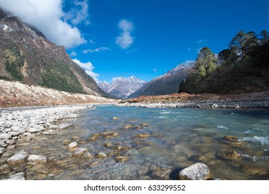 Yumthang Valley, a pasture surrounded by mountains in the north Sikkim, India