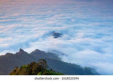 Yun Rai misty mountain foggy sunrise view point. Trendy destination tourism and backpacker on winter. At Pai distict, Mae Hong Son, Thailand