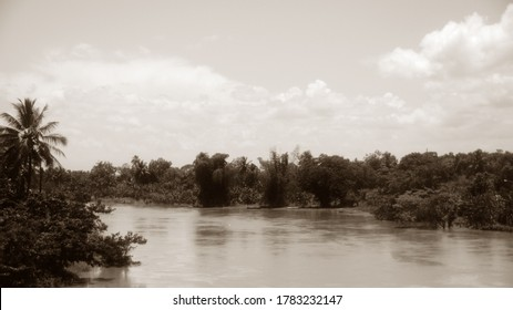The Yuna River (Spanish: Río Yuna) is the second longest river in the Dominican Republic. Sepia  photography. Retro Landscape Dominican Republic