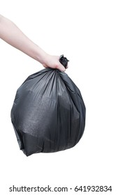 A yung girl hold a garbage bag isolated on white background., This has clipping path.