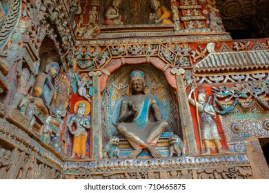 """Yungang Grottoes. World cultural heritage. One of China's four most famous """"Buddhist Caves Art Treasure Houses"""", is located Datong, Shanxi Province."""