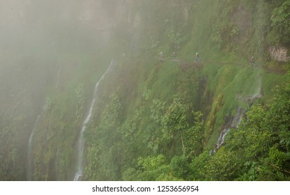 Yungas Road, also known as 'Death Road' due to its notoriously high death rate, was cut into the side of the Cordillera Oriental Mountain chain in the 1930s with dense fog and bus passing