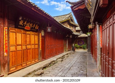 Yunnan, China - 22 March 2016: Old historical wooden shophouses in Lijiang ancient town.