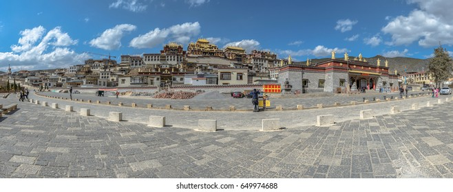 Yunnan, China - April 11, 2017:Songzanlin Tibetan temple is a famous tourist attractions are famous for tourists to visit the beauty of this place.Yunnan,China