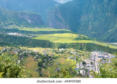 YUNNAN, CHINA - Aug 30 2016: Bingzhongluo Tibetan village. Three Parallel Rivers of Yunnan Protected Areas(World Heritage) in Gongshan, Nujiang, Yunnan, China.