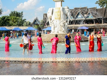 Yunnan, China - December 01, 2010: The New Year Water-Splashing Festival, it is also known as the Festival for Bathing the Buddha. It is similar to Thailand Songkran at Xishuangbanna village
