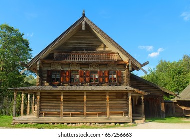 YURIEVO VILLAGE, VELIKY NOVGOROD, RUSSIA - August 27, 2016: The open-air museum of wooden architecture Vitoslavlitsy located on the banks of Lake Myachino and the Volkhov River.