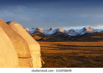 Yurt camp on the shore of Son-Kul lake. Kyrgyzstan.