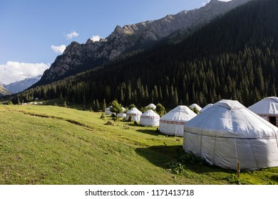 Yurt Camp in the valley of Altyn-Arashan near Karakol in Kyrgyzstan