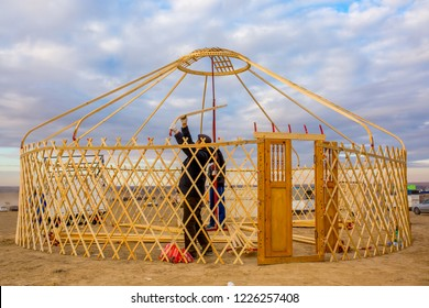 Yurt. The construction of the Yurt. Wooden frame construction. National ancient house of the peoples of Kazakhstan and Asian countries. National Housing