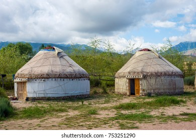 Yurt or ger, a round shaped traditional nomad house, Kyrgyzstan