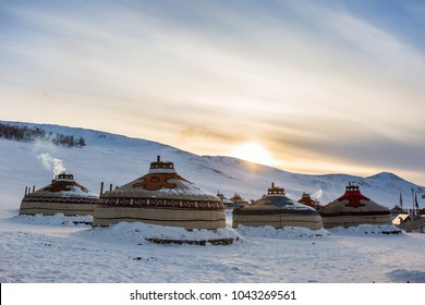 Yurt or ger in winter at mongolia