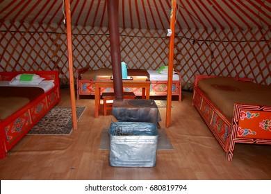 Yurt interior, Mongolia