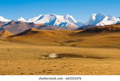Yurt in a landscape of Kazakhstan