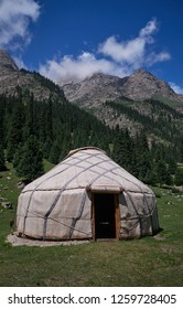 A yurt in a mountain