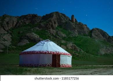 Yurt. National dwelling of nomadic peoples of Asia. Night photo. Kazakhstan