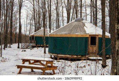 Yurt with snow with trees in winter