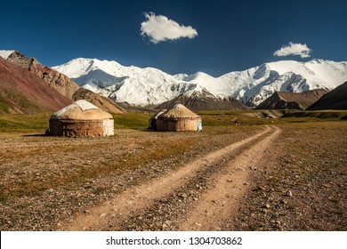 Yurt tents in Pik Lenin Base camp, Kyrgyzstan, Central Asia