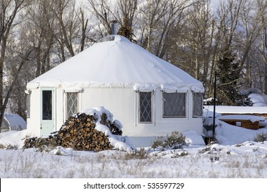 Yurt tiny house in town of Kelly in Jackson Hole Wyoming during winter