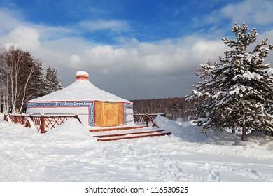 Yurt young Buryat family, winter, Siberia, Russia